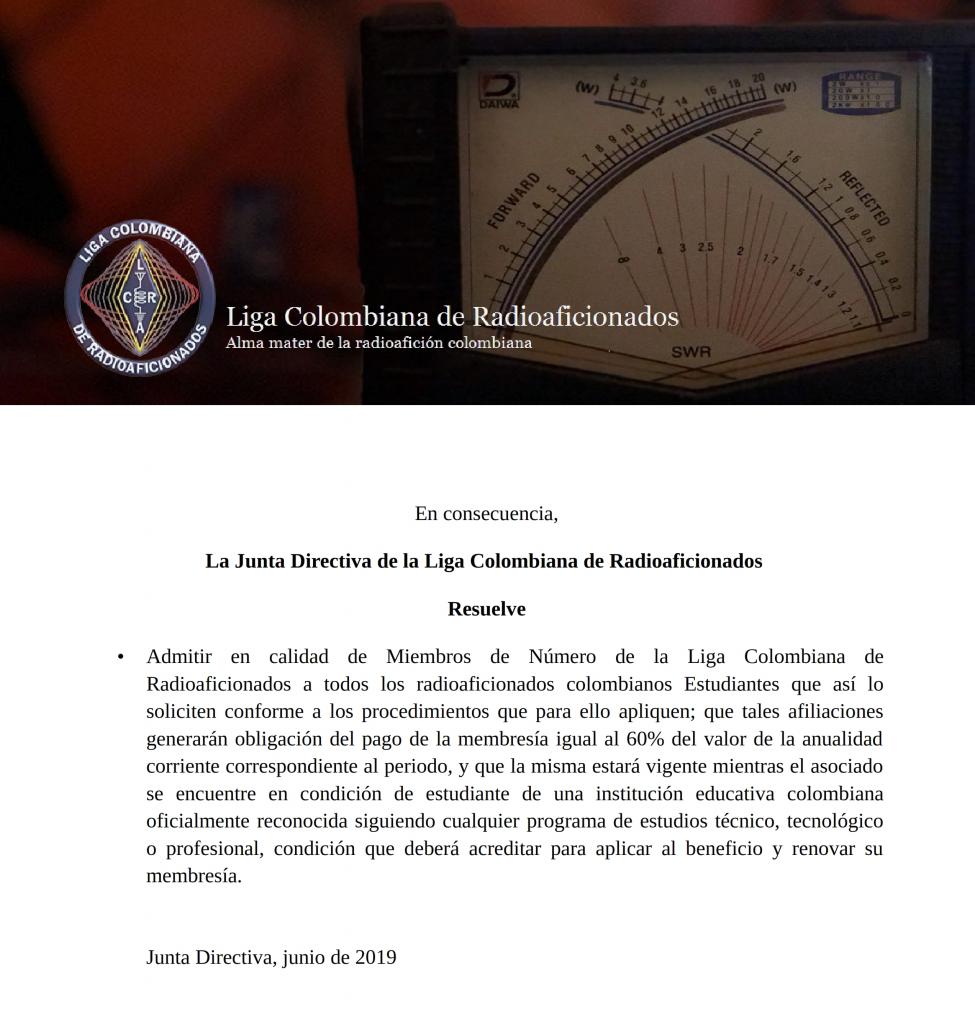 Proposición aprobada por la Junta Directiva LCRA