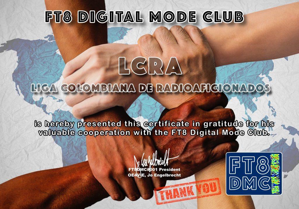 Diploma de gratitud del FT8DMC con la LCRA